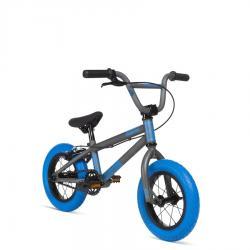 Велосипед BMX STOLEN AGENT 12 2020 13.25 матовый некрашеный крашеный с темными синими покрышками